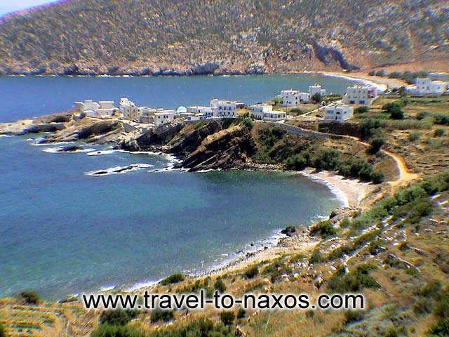 APOLLONAS BEACHES - A panoramic view of the two beaches at Apollonas village.
