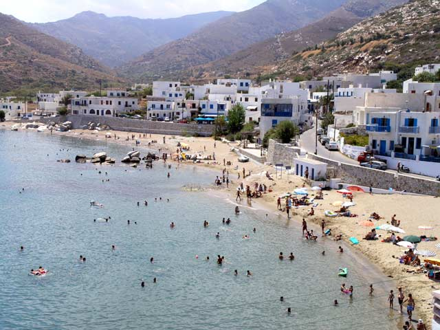 THE BEACH - View of the beach at Apollonas village in Naxos